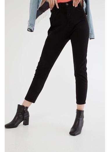 Modaset Yüksel Bel Mom Jean Pantolon Siyah Siyah